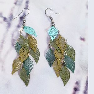 Delicate Metal Leaf Dangle Earrings